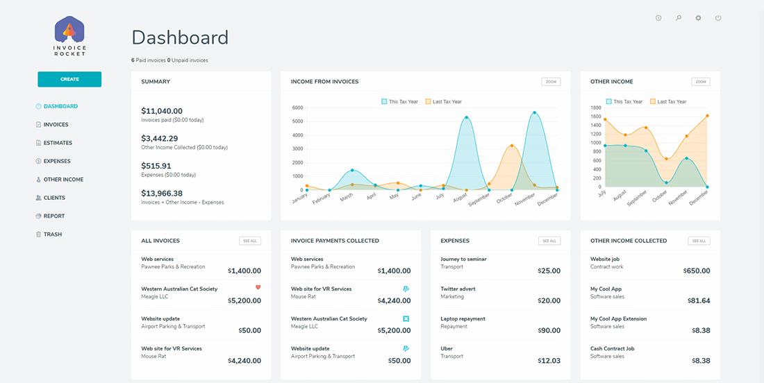 Invoice Rocket dashboard